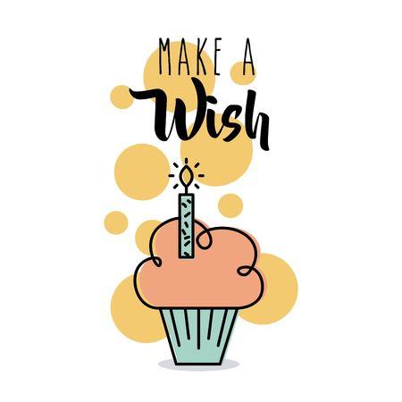 Make a wish card greeting cupcake candle celebration vector illustration Illustration