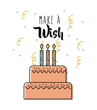 Make a wish delicious cake with candles celebration vector illustration