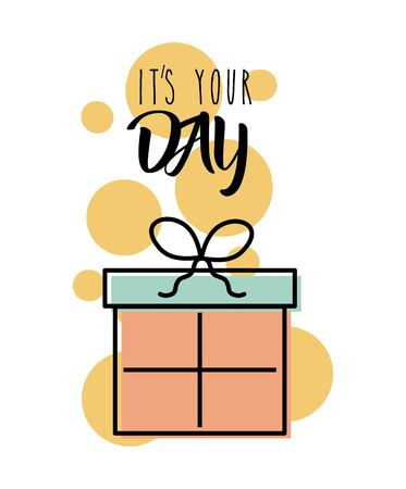 Its your day gift box card invitation vector illustration Ilustração
