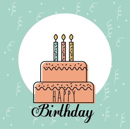 甘いケーキの挨拶お誕生日おめでとうカード キャンドル装飾ベクトル図