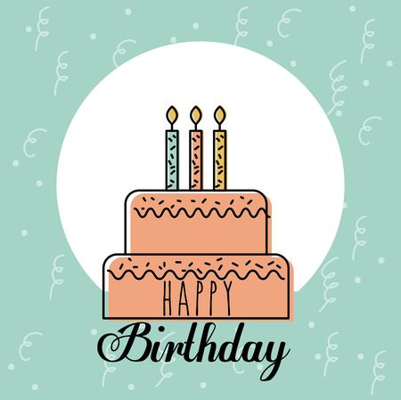 Happy birthday card greeting sweet cake candles decoration vector illustration