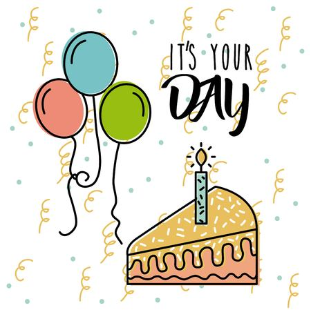 Its your day birthday celebration poster vector illustration
