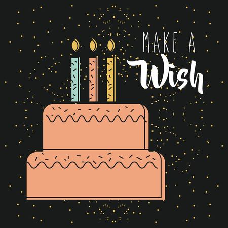 Make a wish pink cake with candles burning dark background vector illustration Stock fotó - 90185035