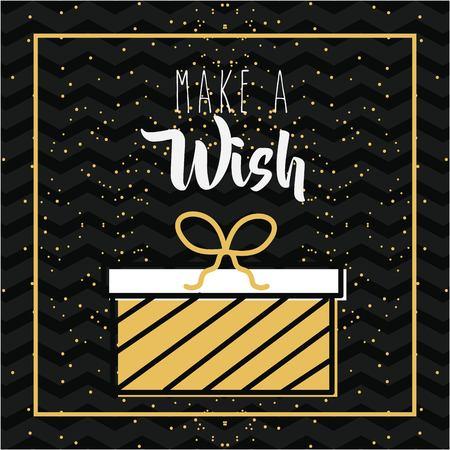 Make a wish gift box stripes celebration sparkles background vector illustration