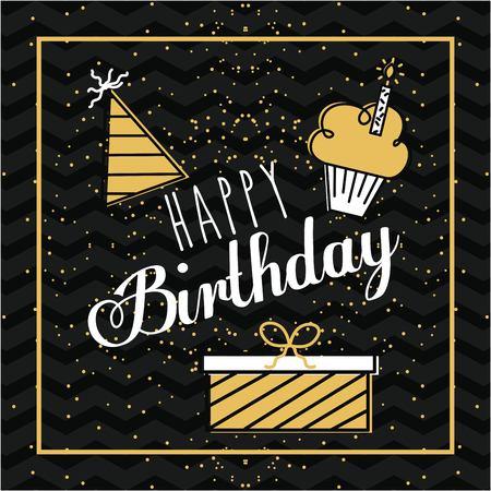Happy birthday card invitation gift cake and hat decoration vector illustration