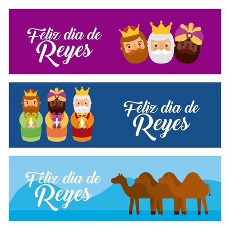 Kerstmisbanners met de drie wijzen en kamelen vectorillustratie