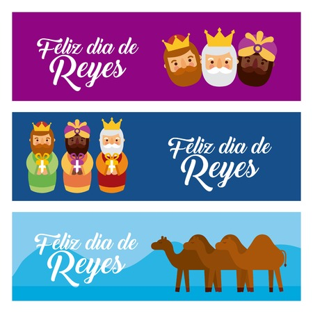 Christmas banners with the three wise men and camels vector illustration