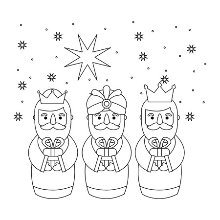 Outlined three magic kings bring presents to jesus vector illustration Stock Illustratie