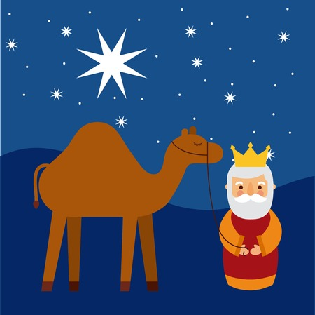 Cartoon wise king with camel manger traditional vector illustration Ilustracja