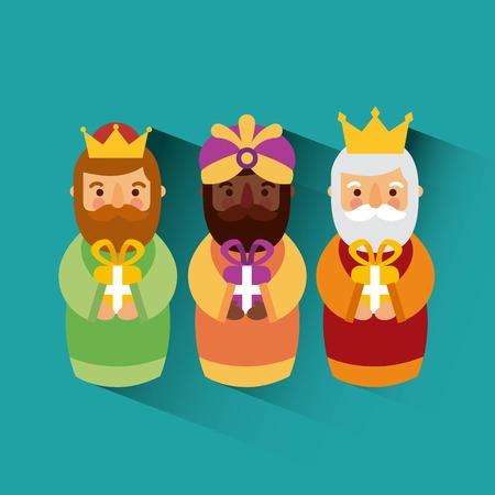 Feliz Dia de los reyes drie magische koningen brengen cadeaus naar Jezus vector illustratie Stock Illustratie