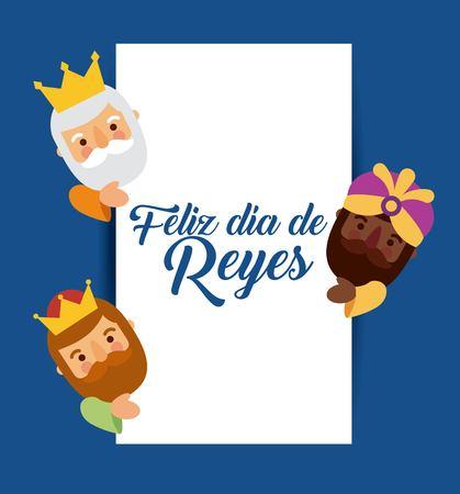 feliz dia de los reyes trois rois magiques apportent des cadeaux à l'illustration vectorielle de Jésus