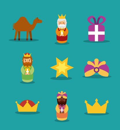 Three wise men icons magic kings presents star crown camel vector illustration