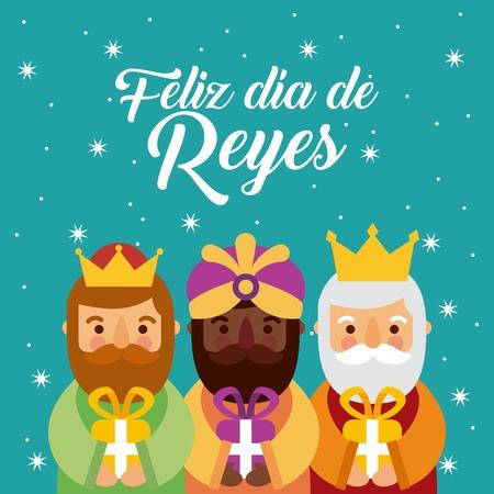 Feliz dia de los reyes three magic kings bring presents to jesus vector illustration