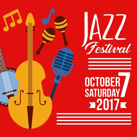 Jazz festival music celebration october poster vector illustration