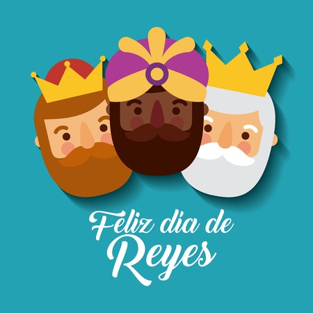 feliz dia de los reyes three magic kings bring presents to jesus vector illustration Stok Fotoğraf - 90060208