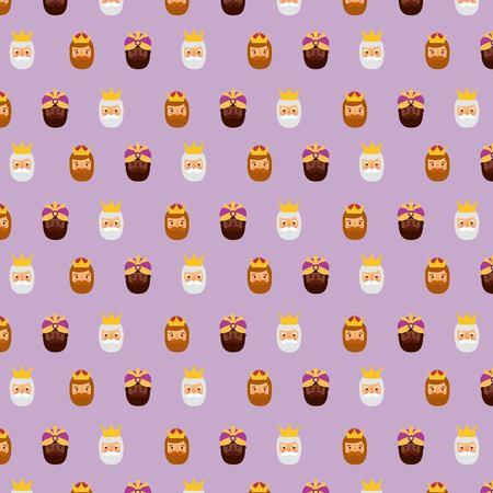 Three kings of orient christmas pattern design vector illustration