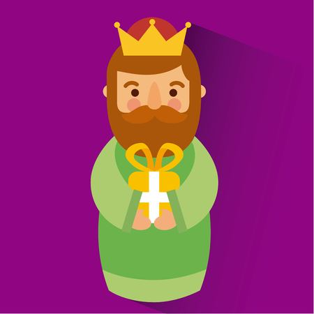 Wise king christmas celebration bring presents to jesus vector illustration