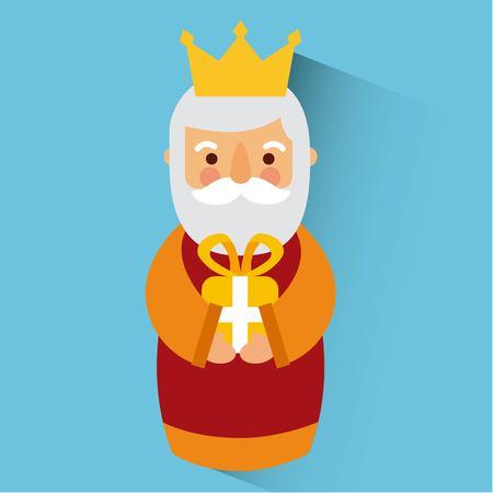 Wise king christmas celebration bring presents to jesus vector illustration