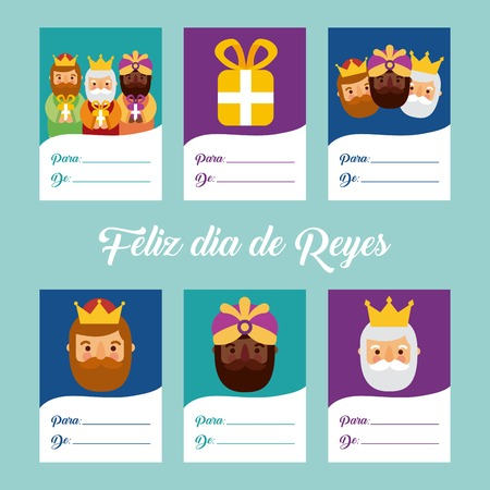 Cute greeting cards invitation with three magi bringing gifts and blank paper vector illustration