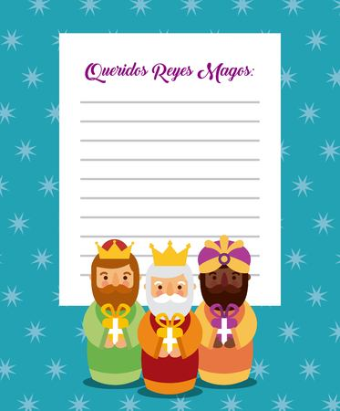Letter to the three kings of orient celebration festivity vector illustration Illustration