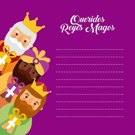 Brief aan de drie koningen van orient feest festiviteit vector illustratie