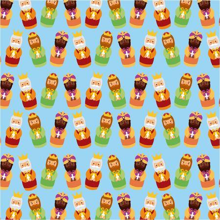 Drie koningen van het ontwerpontwerp vectorillustratie van het Kerstmispatroon Stock Illustratie