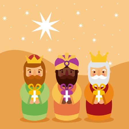 Feliz dia de los Reyes drie magische koningen brengen cadeaus naar de vectorillustratie van Jezus