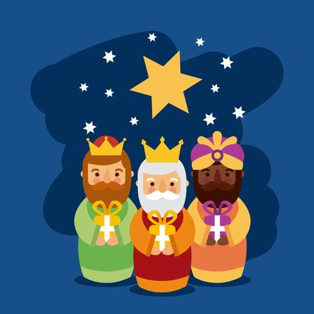 Feliz dia de los reyes three magic kings bring presents to jesus vector illustration