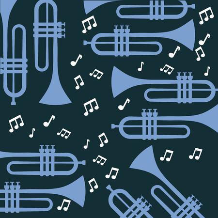 Trumpet note music jazz poster wallpaper patter vector illustration Ilustração