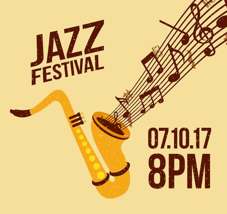 Jazz festival music celebration october poster vector illustration