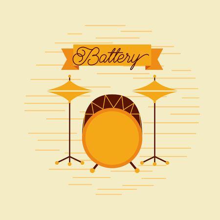 Battery jazz instrument musical festival celebration vector illustration Illustration