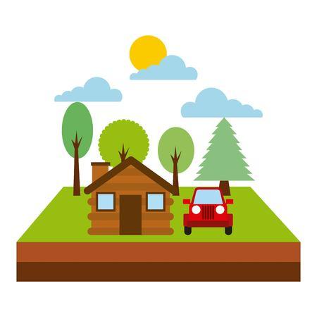 forest cottage house  natural landscape vector illustration Illusztráció