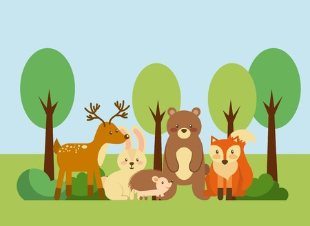 forest and animals wildlife natural vector illustration Çizim
