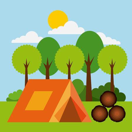 forest outdoor camp tent wooden tree sun cloud bush vector illustration Illustration