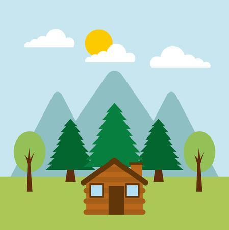 forest cottage house natural landscape vector illustration