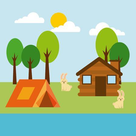 Forest cottage house natural landscape illustration