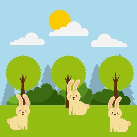 forest and animals wildlife natural vector illustration Illustration