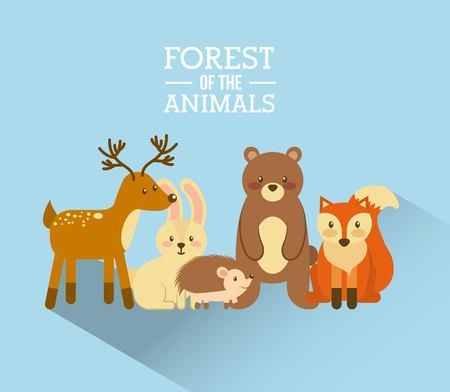 森と動物野生動物の自然なベクトル図