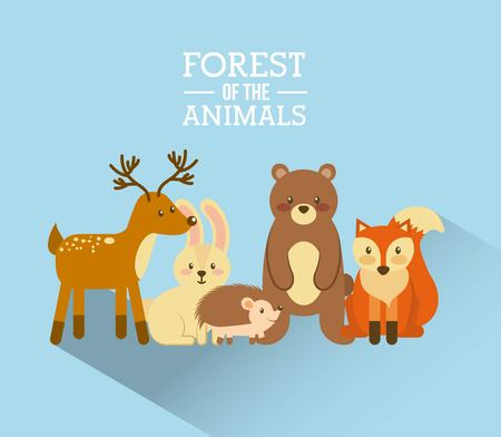 Bosque y animales fauna natural ilustración vectorial Foto de archivo - 90062054