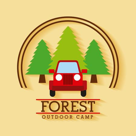 forest outdoor camp jeep travel tree badge vector illustration