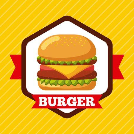 burger icon fast food restaurant menu vector illustration
