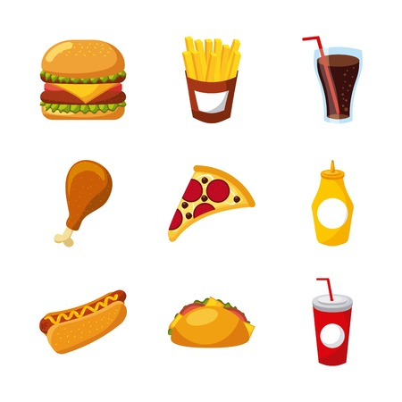 fast food set of icons menu unhealthy restaurant vector illustration