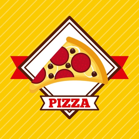 fast food pizza restaurant pepperoni cheese tasty vector illustration Фото со стока