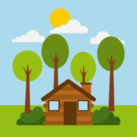 forest cottage house natural landscape vector illustration
