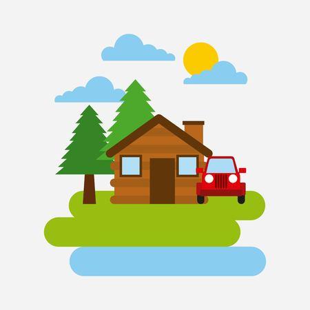 森林コテージ家ジープ車自然風景ベクトル イラスト
