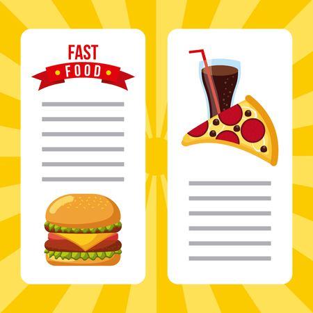 fast food restaurant menu brochure vector illustration