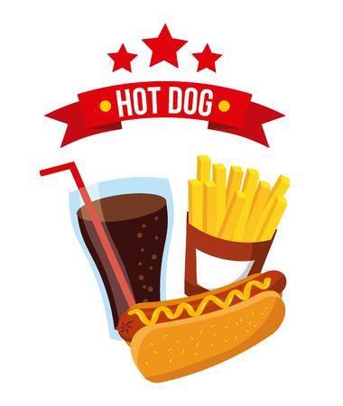 hot dog fast food mustard delicious vector illustration