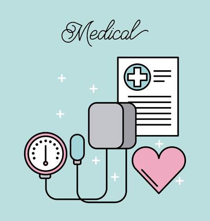 medical tonometer for measuring blood pressure heart report vector illustration Çizim
