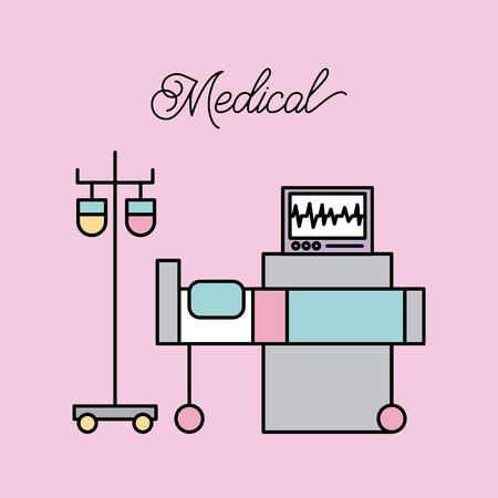 medical bed and iv stand bag monitoring machine hospital vector illustration Vectores