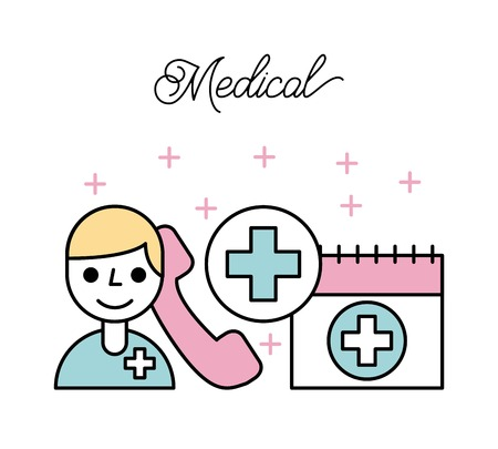 medical doctor calendar telephone healthcare vector illustration Illustration